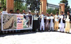 تجمع اعتراضی در ولایت هرات به خاطر ترمیم و بازسازی منار جام