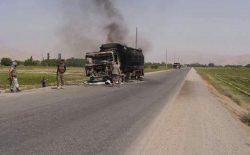 هراسافگنان طالب دو موتر نفتکش را در شاهراه بغلان-بلخ به آتش کشیدند