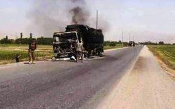 طالبان یک تانکر تیل را در شاهراه بغلان-بلخ آتش زدند