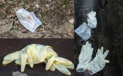 ماسکها و دستکشهای رها شده در خیابان