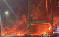 انفجار بزرگ در بندر جبلعلی دبی