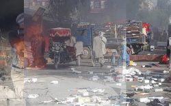 ادامهی درگیریها در لشکرگاه هلمند؛ چند دکان و مارکیت آتش گرفتند